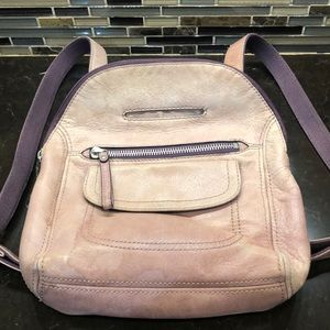 Fossil tan purple leather backpack purse